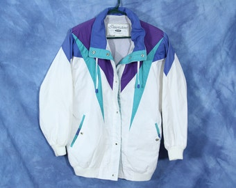 Vintage 80s 90s IZZI Innovations Jacket // Windbreaker Type Jacket // Color Block Blue Purple Aqua