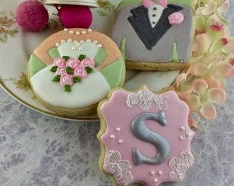 Wedding Cookies, Bride and Groom, Monogram, Shower, Bridal, Rehersal,Dinner Cookies!