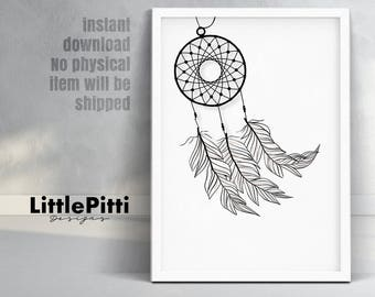 Dreamcatcher print, dreamcatcher art, nursery wall art, boho print, tribal nursery art, minimalist art, feather dreamcatcher, digital art