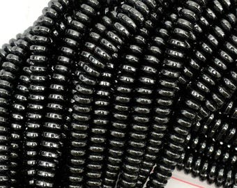 """6mm hematite heishi rondelle beads 16"""" strand 38991"""