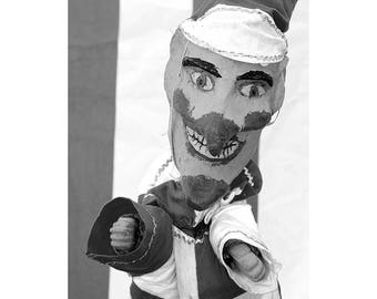 Seaside, Wall Art, Black and White Photography, Print, Beach, Theatre, Punch and Judy, Portrait, Country Show, Puppet