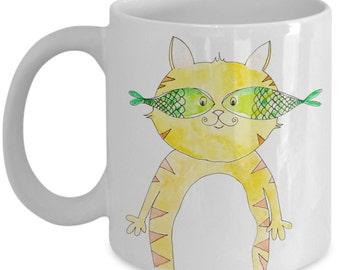 Cat Mug - Incognito Yellow Cat Mug - 11 oz Gift Mug