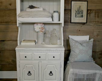 Shabby chic chalk painted white and pale grey cabinet/hutch, distressed, painted furniture, French cottage, flea market style, upcycled
