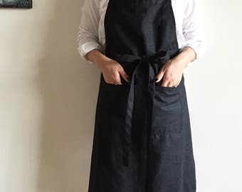 Black Linen Apron