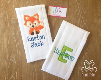 Personalized Baby Boy  Fox set 2 burp cloth or Burp cloth & Bib  - Appliqued Fox - Newborn Boy Gift