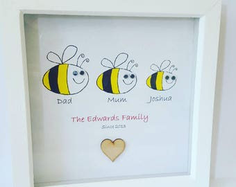 Bumble bee art, bumble bee gift, family picture, personalised gift, personalized art, printed art, new home gift, new baby gift, family gift