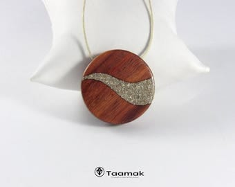 Necklace pendant reversible mother in Padauk, silver glass glitter inlay and diamond with engraving