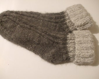 Warm hand knitted bed / sofa socks for at home