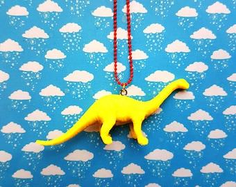 Yellow dinosaur necklace ~ neon brontosaurus gumball toy jewellery