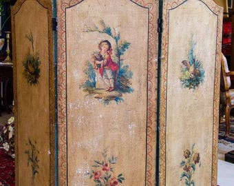Antique French Hand Painted Three Panel Folding Screen