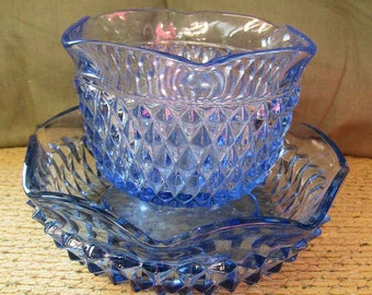 Ice Blue Diamond Point Dish Bowl Compote Indiana Glass Rare Pair