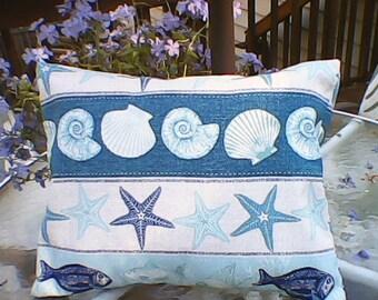 Shells and Stars Beach Pillow