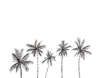 Black and White Palm Trees Print