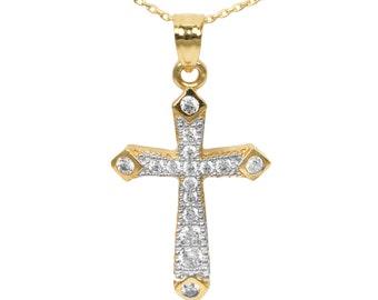 14k Yellow Gold Cubic Zirconia Cross Pendant