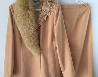 Real costume, yellow jacket & skirt, with polar fox fur collar, soft textile, casual, vintage, stylish costume, for ladies, size-large (12).