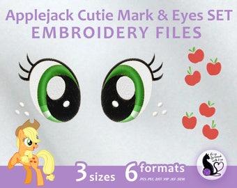 My Little Pony - Applejack Cutie Mark & Eyes SET - Embroidery Machine Design