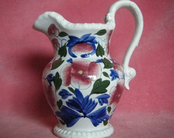 Antique c.1830 Cottage Style Hand Painted Floral Pearlware Jug