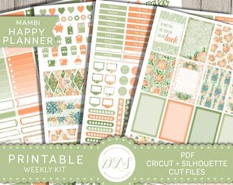 Happy Planner Weekly Kit, Printable Planner Stickers, Floral Planner Stickers, March Planner, April Planner, Happy Planner PDF, HP117