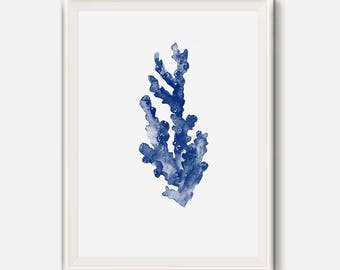 Indigo print, Blue coral poster, Indigo seaweed painting, Nautical poster, Bathroom art, seaweed watercolor illustration, Ocean Plant Life