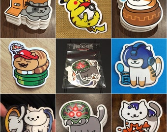 Jango Atsume - Cat Stickers inspired by Neko Atsume, Metroid, Metal Gear Solid, Zelda, Pokemon, Splatoon, Megaman, Mario Bros, Portal, cats