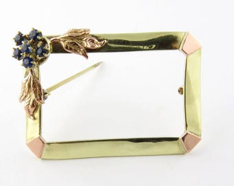 Antique 14K Yellow And Rose Gold Sapphire Frame Brooch #806