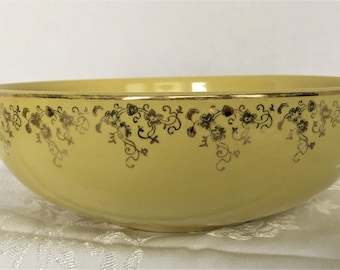 Canary Yellow Hall's Superior Quality Kitchenware USA Serving Bowl with Gold Filigree