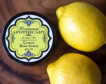 Citrus Body Scrub 4oz - Hermanas Apothecary - All Natural and Organic - Invigorating Citrus Sugar Scrub