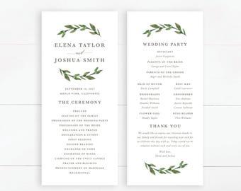 Printable Wedding Program | Wedding Ceremony, Greenery Wedding, Green Leaves