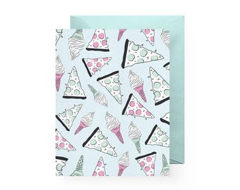 Pizza & Ice Cream Patterned Notecard