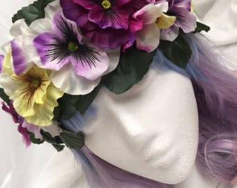 Purple, Yellow Flower Crown Headband