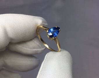 NATURAL 1.00ct Blue Sapphire Solitaire Ring 14k Yellow Gold Pear Cut Gem