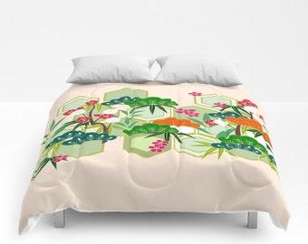 Floral Duvet Cover, Full Queen King Duvet, Japanese Kimono Pattern, Peach Bed Cover, Modern Bedding, Floral Comforter, Cherry Blossom Design