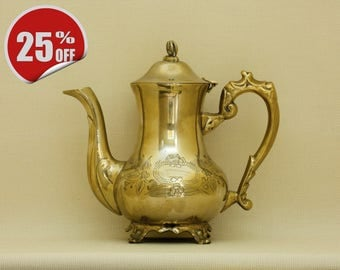 Antique Victorian Brass Teapot, Silver Plated on the Inside -SALE!- The original price was 55Eur!