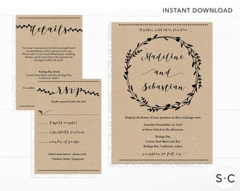 Rustic Wreath Wedding Invitation Template, Rustic Wedding Invitation Template, Wedding Invitation Printable, Boho Wedding Invitation