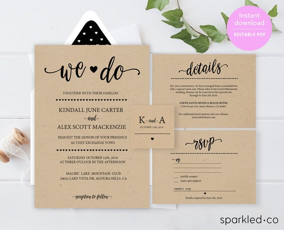Wedding Invites Cheap Online: Rustic Wedding Invitation Template Wedding By Sparkledco