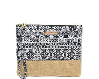 Tribal Aztec jacquard and Burlap, carabiner strap pouch. Handmade, in France.