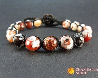 Bracelet on button Shamballa gemstone jewelry Brown orange stone Unisex jewelry gift Agate unisex bracelet Healing gemstone jewelry Amulet