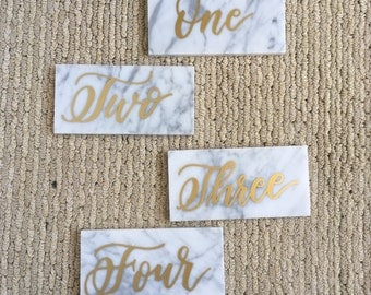 Marble Wedding Table Numbers Calligraphy