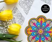 Mandala coloring pages, 35 printable mandalas to color, Printable coloring pages, Adult coloring book, A4 coloring pages, PDF coloring book
