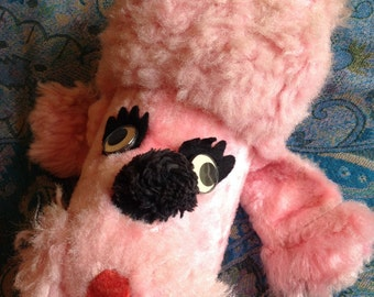 1950's pink poodle stuffed animal pink poodle plushy, retro stuffed poodle, pink dog, kitschy pink poodle plushy, classic 1950's poodle dog