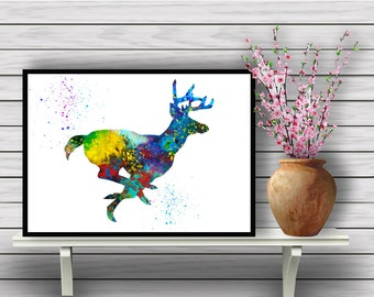 Stag Running, Animal, Colorful Watercolor, Room Decor, Nature, Home Decoration, Wildlife, gift, print (356)