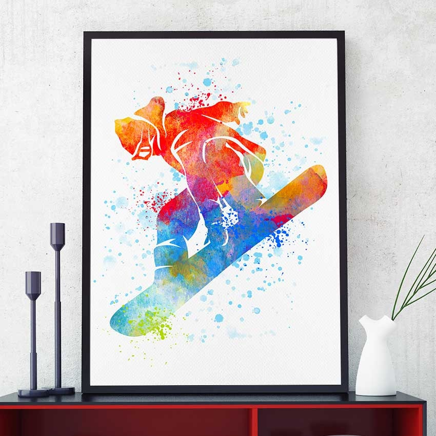 Snowboard decor watercolor print snowboarder gift sports for Snowboard decor