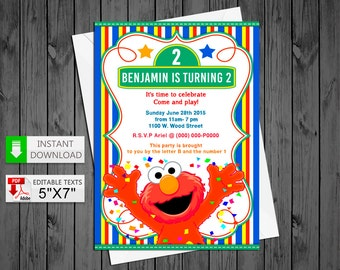Printable invitation Elmo in PDF with Editable Texts, Elmo party Birthday Invitation, edit and print yourself!