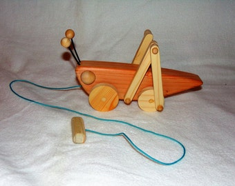 Handmade Wooden Grasshopper Pull Toy, Natural Wood With Beeswax Finish
