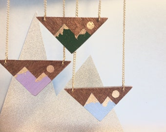 Hand painted mountain necklace • Wooden triangle necklace • geometric jewellery •  handmade necklace • gold leaf • painted wood necklace •