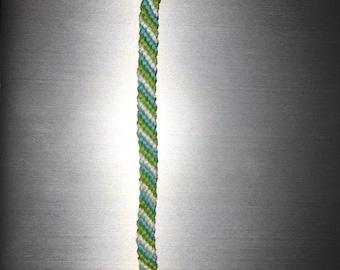 Light Green/Light Blue/White Diagonal Stripe Bracelet