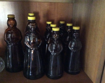 Vintage Aunt Jemima Amber Syrup Jars Mrs Butterworth with metal caps