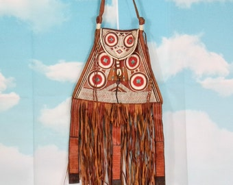 Ethnic brown leather fringe bag K4U-Créations