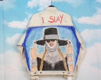 Veste jean bleue délavée, veste en jean Motif Beyoncé peint main Taille L