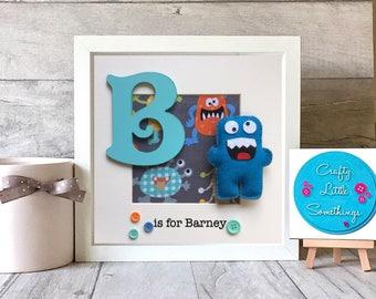 Personalised Boys Gift, Personalised Monster Box Frame, Personalised Gift, Keepsake, Boys Bedroom Decor, Wall Art, Monster Picture